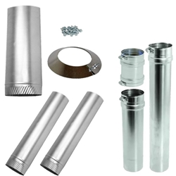 Horizontal Pipe Kit for Sterling GG Concentric Vent sterling, gg, beacon, morris, concentric, vent, kit, flue, exhaust, pipe, horizontal, category, 3, UL, stainless
