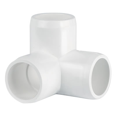 PVC Fitting - 3 Way Elbow Connector pvc, fittings, pipe, connectors, furniture, schedule, 40, projects, specialty, elbow, 3, way