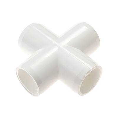 PVC Fitting - 4 Way Cross Connector pvc, fittings, pipe, connectors, furniture, schedule, 40, projects, specialty, 4, way, cross