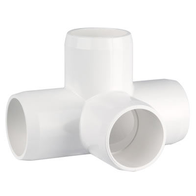PVC Fitting - 4 Way Elbow Connector pvc, fittings, pipe, connectors, furniture, schedule, 40, projects, specialty, elbow, 4, way