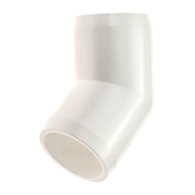 PVC Fitting - 45 Elbow Connector pvc, fittings, pipe, connectors, furniture, schedule, 40, projects, specialty, 45, elbow