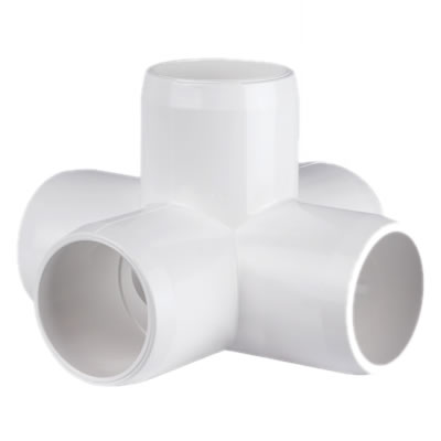 PVC Fitting - 5 Way Elbow Connector pvc, fittings, pipe, connectors, furniture, schedule, 40, projects, specialty, elbow, 5, way