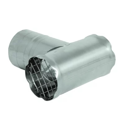 Stainless Steel Category 3 Vent Screened Termination Tee vent, flue, duct, pipe, furnace, exhaust, gas, modine, sterling, heater, category, tee, termination