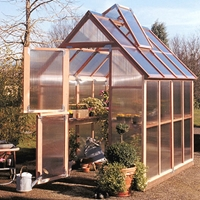 Sunshine 6' Wide Redwood Greenhouses sunshine, greenhouse, garden, house, kit, wood, hobby, redwood, rainer, hood, mt