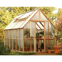Sunshine 8' Wide Redwood Greenhouses sunshine, greenhouse, garden, house, kit, wood, hobby, redwood, rainer, hood, mt